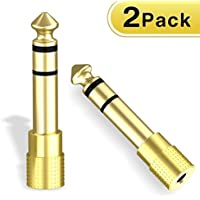 ABLEWE Stereo Adapter,6.35mm 1/4 inch Plug to 3.5mm 1/8 inch Male to Female Gold Plated Audio Jack Adapter(2 Pack)