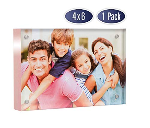 Frames Sided Double Photo - Acrylic Picture Frame 4x6 with Rose Gold Edges - Double Sided Magnetic Photo Frame, 24 mm Thick Clear Picture Frame, 4 x 6 Inches Acrylic Frame, Modern and Self Standing for Desktop Display (1 Pack)