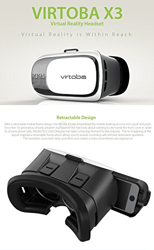 Virtoba X3 Immersive 3D VR Virtual Reality Headset 95 Degrees Adjustable FOV IPD Focus for 3.5-6inch Smartphones