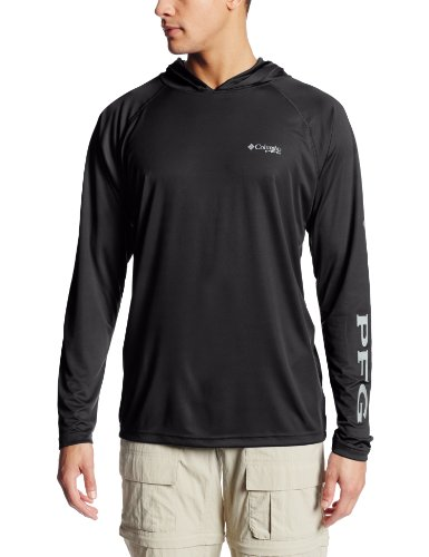 Columbia Men's Terminal Tackle Hoodie, Black/Cool Grey Logo, X-Large
