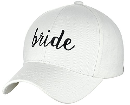 C.C Women's Embroidered Quote Adjustable Cotton Baseball Cap, Bride, White/Black