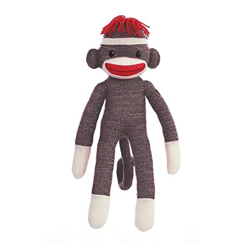 (MaEd by Aliens ORIGINAL SOCK MONKEY STUFFED ANIMAL PLUSH KNITTED BOYS BABY DOLL PUPPET GIFT PRESENT)