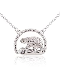 """Sterling Silver Rhodium Plated Diamond Accent Animal Pendant Necklace, 18"""""""