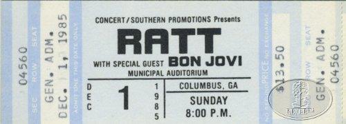 Bon Jovi 1985 Tour Unused Concert Ticket Opening Act For Ratt
