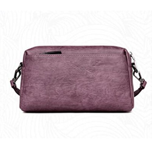 Zipper à Purple Femmes Pu Tote Bandoulière Cuir Multicolore Vintage Bag à Main Crossbody Lattice Casual Lady Mini Sac En Sac Satchel qSwRPIrS