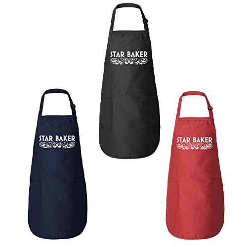Funny Threads Outlet Star Baker GBBO Amateur Baker American British Baking Show Pastry Chef Gift Kitchen Apron (Navy)