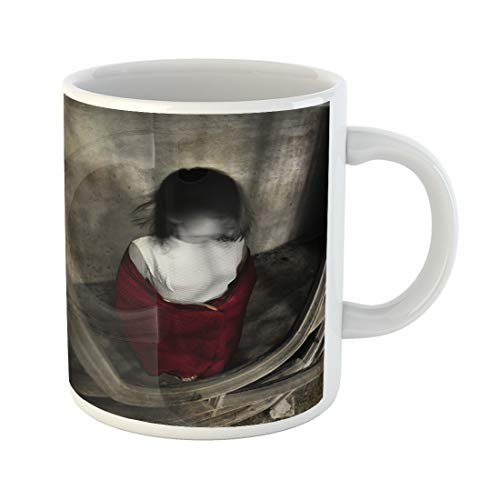 Semtomn Funny Coffee Mug Ghost Girl in White Dress and Red Scarf No 11 Oz Ceramic Coffee Mugs Tea Cup Best Gift Or Souvenir]()