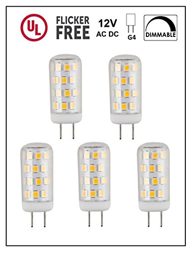 CBConcept UL-Listed, G4 LED Light Bulb, 5-Pack, 3 Watt, Dimmable, 330 Lumen, Warm White 3000K, 360° Beam Angle, 12 Volt, 35W Equivalent, JC Bi-Pin G4 Halogen Replacement Bulb (Replacement Angle)
