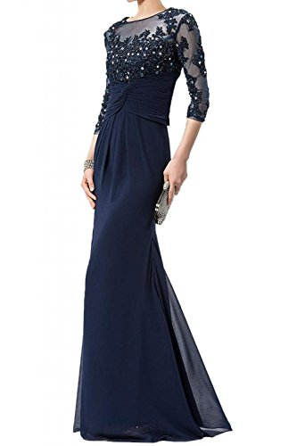 ALfany Women's Column 3/4 Sleeves Appliques Chiffon Mother of the Bride Dresses US6