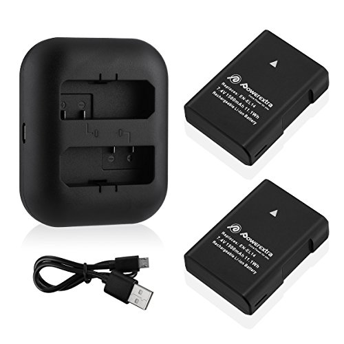 Powerextra 2 x EN-EL14 EN-EL14a Replacement Battery and Dual Battery Charger Compatible with Nikon P7000, P7100, P7700, P7800, D3100, D3200, D3300, D3400, D3500, D5100, D5200, D5300, Df