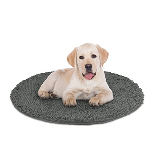Mayshine 3ft Diameter Round Non-slip Chenille Shaggy Machine-washable Dog Bed mat - Dark Gray