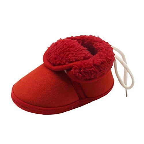 Xshuai Kleinkind Baby Mädchen Jungen Anti-Rutsch Winter Nette Solid Soft Sole Stiefel Prewalker Warm Schuhe Rot