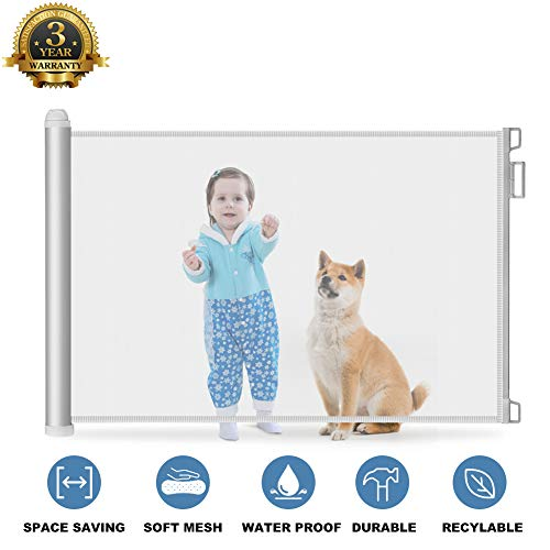 Baby Safety Gate Retractable - Extra Wide Mesh Child Gate and Dog Pet Gate for Stairs/Door/Stairway/Outdoor/Indoor, Easy Latch & Flexible Design Protect Toddlers ...