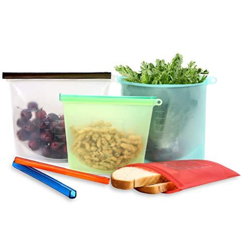 Reusable Food Storage Bag Sandwich Bag Snack Bag  Airtight Ziploc Bags for Sous Vide Liquid Fruit Veggies amp Meat  Silicone Leakproof Meal Prep Bag 2 Large amp 2 Medium