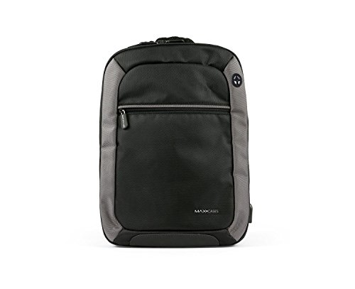 Max Cases Notebook Backpack - Travel Backpack with USB Charging Port & Headphones for Business and School - up to 15.6