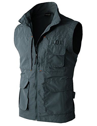 [H2H Mens Work Utility Hunting Travels Sports Vest With Multiple Pockets CHARCOAL US M/Asia L (KMOV081)] (Athletic Works Jacket)
