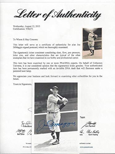 Joe Dimaggio Autographed Signed Memorabilia Postcard Photo Ny Yankees Baseball Geo Brace PSA/DNA Letter from Sports Collectibles Online