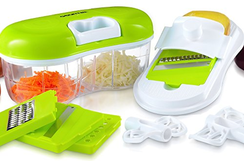 Gourmia GCH9290 Chopper & Grater Set All-in-One Pull String Food Processor & Mandoline Slicer With 2-Sided Container & Interchangeable Attachments, Durable BPA free food safe material (Chefn Dual Grinder)