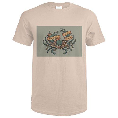 Virginia - Blue Crab Tattoo (Sand T-Shirt X-Large)