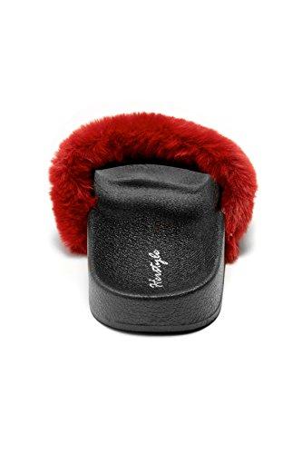 HerStyle Womens SL-160801 Faux Fur Slide Sandal Burgundy cUFTvGqkM