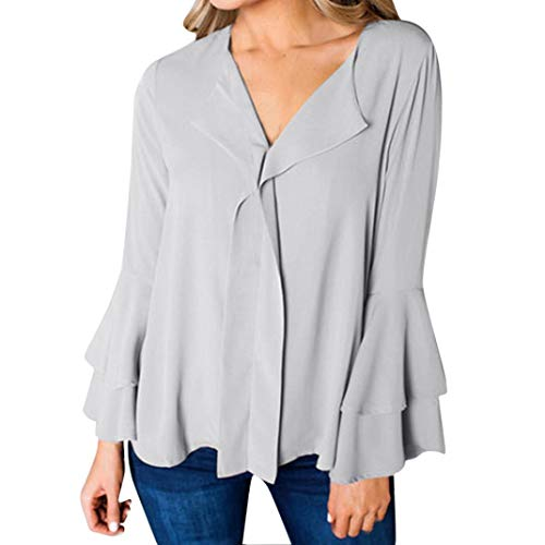 - iYYVV Womens Casual Layered Long Flare Sleeve Ruffled V-Neck T-Shirt Solid Tops Blouse Gray