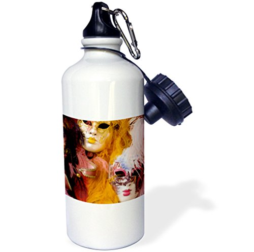 3dRose wb_82054_1 ''Carnival party masks, Venice, Italy EU16 BBA0177 Bill Bachmann'' Sports Water Bottle, 21 oz, White by 3dRose
