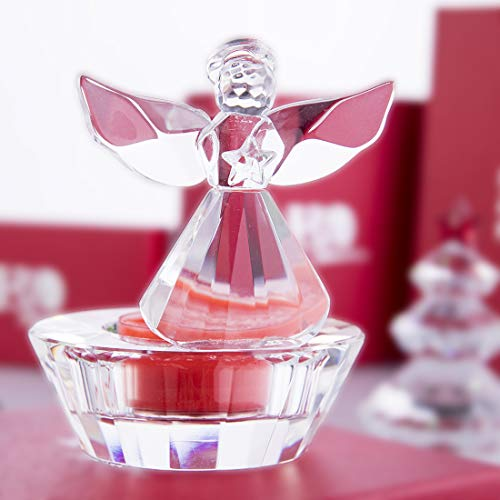 H&D Crystal Angel Figurines Christmas Ornaments - Crystal Glass Candle Holder (Angel)
