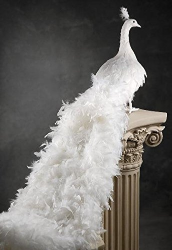 Richland Giant White Artificial Peacock with Curly Feathers 54''
