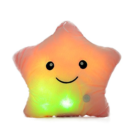 AMFO Illuminant Lucky Plush Star Glowing LED Twinkle Plush Pillows Stuffed Toys 16 inch ()