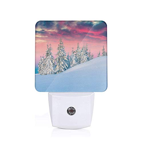 Colorful Plug in Night,Idyllic Scenery in Snow Covered Mountains Pine Tree Forest Majestic Sky Serenity,Auto Sensor LED Dusk to Dawn Night Light Plug in Indoor for Childs Adults
