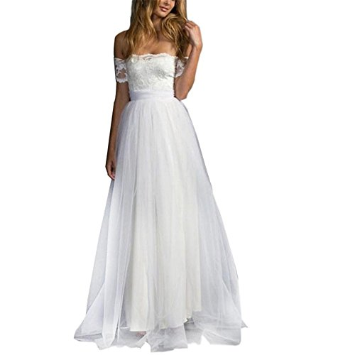 Kimloog Women's Lace Short Sleeve Off Shoulder Strapless Tube Long Maxi Bridesmaid Dress Wedding Gowns (2XL, White)