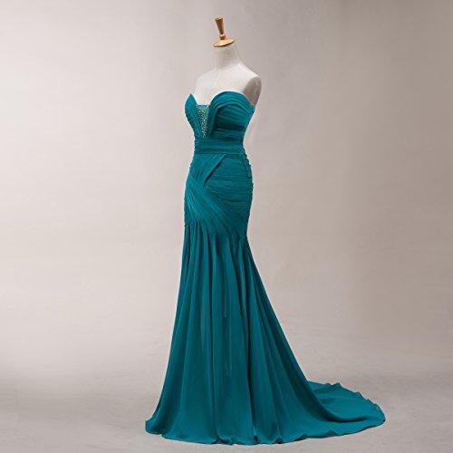 Bridal _ Mall encanto de las mujeres cuentas sirena Vestido de noche marrón marrón 46