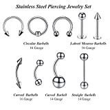 BodyJ4You 36PC Piercing Kit Steel Curved Needle 14G 16G Belly Ring Tongue Tragus Nipple Lip Nose