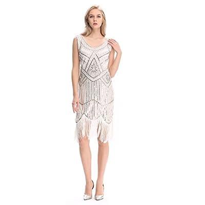 Pilot-trade Women's 1920s Gatsby Vintage Flapper Sequin Party Fancy Dress White