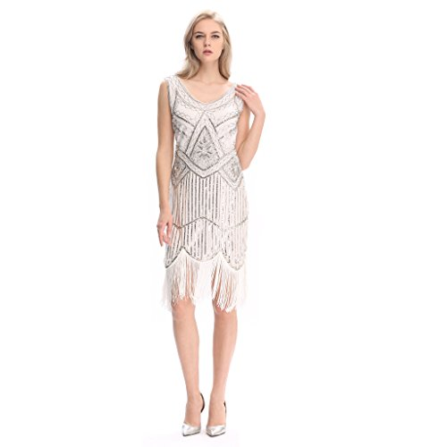Pilot-trade Women's 1920s Gatsby Vintage Flapper Sequin Party Fancy Dress White L - 1920s Clothing Style