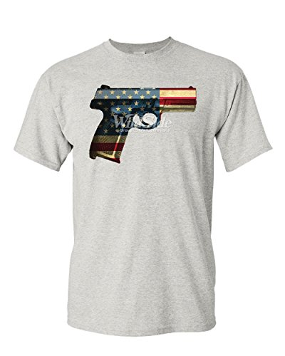 - Handgun American Flag T-Shirt 2nd Amendment Right to Bear Arms Mens Tee Shirt Ash Gray M