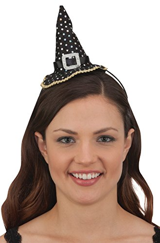 Jacobson Hat Company Mini Black Witch Hat Headband (Black Sequin Witch Costume)
