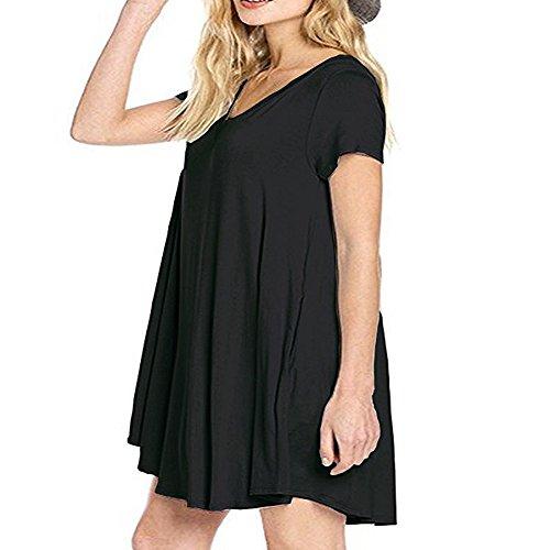 Bolsillos Rodilla Negro de Casuales de los Camiseta DEFOV Vestidos Corta Manga Verano de de la Cuello Manga Las de Vestidos Mujeres Vestidos V Corta de Vestidos Casual hasta wxxYpHnSq