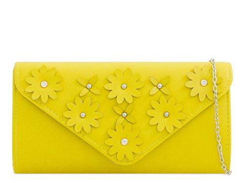 Clutch KZ2282 Lemon Faux Envelope Leather Ladies Floral Handbag Women's Flower Bag Diamante fn7wxFP