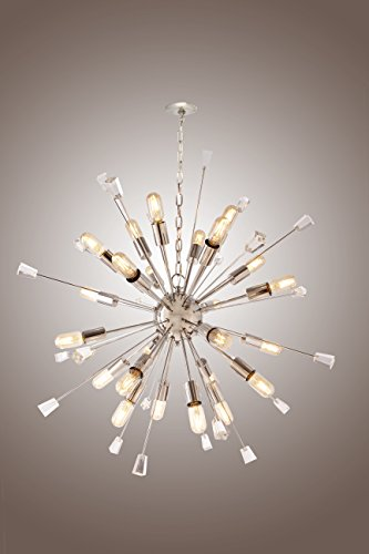 Twenty Four Light Chandelier - Mid Century Italian Starburst CHANDELIER 24 Light Edison Bulb Sparkling Sputnik