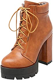 MAVMAX Women's Ankle Boots Lace up Chunky High Heels Platform Boo
