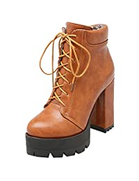 MAVMAX Women's Ankle Boots Lace up Chunky High Heels Platform Booties