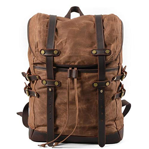 Para Brown Cvthfyky Senderismo School Travel Backpack Blue Laptop Daypack Mochila Vintage Bag Hombres color Canvas vwrf61Yv