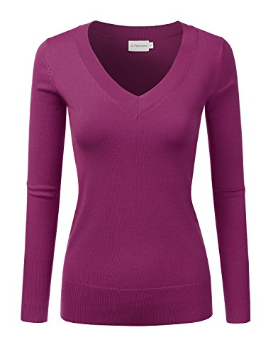 JJ Perfection Women's Simple V-Neck Pullover Chic Soft Sweater Magenta S ()