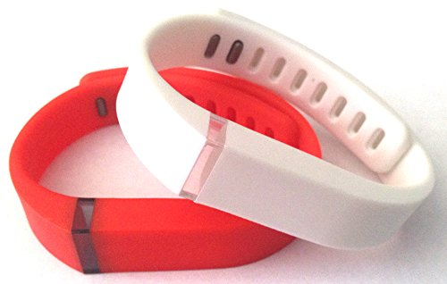 Fitbit FLEX 용 대형 1pc 리얼 레드 1pc 화이트 밴드 (Claspps 교체 포함) 트래커 없음/Large 1pc Real Red 1pc White Band for Fitbit FLEX Only With Clasps Replacement  No tracker