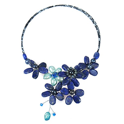 AeraVida Floral Lace Simulated Lapis-Lazuli and Cultured Freshwater Pearls Crystal Wrap Necklace ()