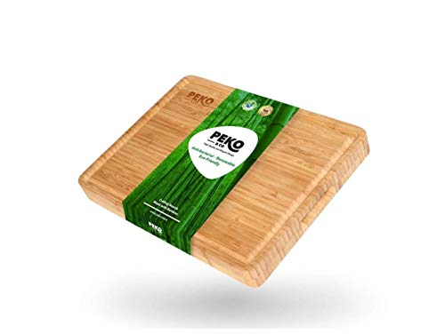 Peko&Co   Professional Chef Bamboo Cutting Board with Juice Groove (Extra Large) Heavy-Duty, End Grain Wood Butcher Block for Meat, Cheese, Vegetables   Built-In Handles, Natural, Antibacterial