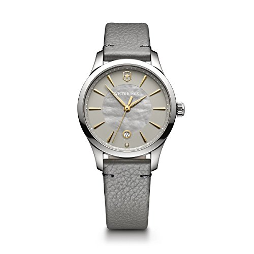 Victorinox Women's 'Alliance' Swiss Quartz Stainless Steel and Leather Casual Watch, Color:Grey (Model: 241756)