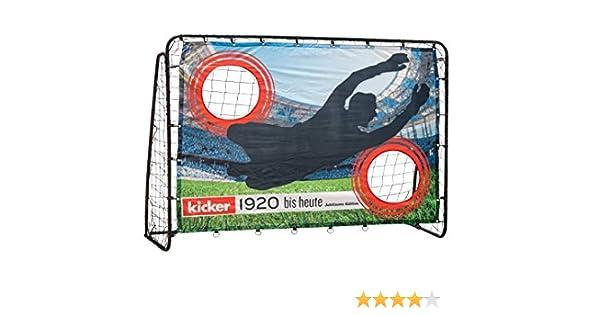 Hudora - Portería de fútbol para niños y Adultos, edición de Entrenamiento, Estadio, portería de jardín con Pared de portería en diseño Exclusivo de futbolín, Negro, 213 x 152 x 76 cm: