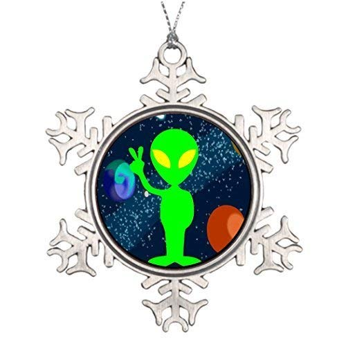 Jared Metal Ornaments Ideas for Decorating Christmas Trees Green Peace Space Alien Photo Frame Snowflake Ornament Earth BH - Pictures Alien